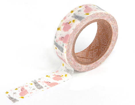 Cinta adhesiva masking tape washi chubby rabbit 15mm.x10m.