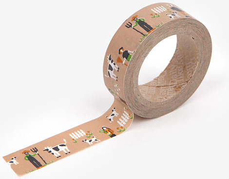 Cinta adhesiva masking tape washi farm 15mm.x10m.