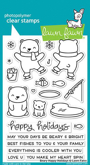 Beary Happy Holidays Stamps. Lawn Fawn