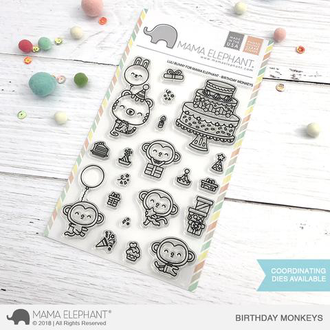 Sellos Mama Elephant - Birthday Monkeys