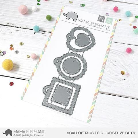 Mama Elephant - Scallop Tags Trio- Creative Cuts