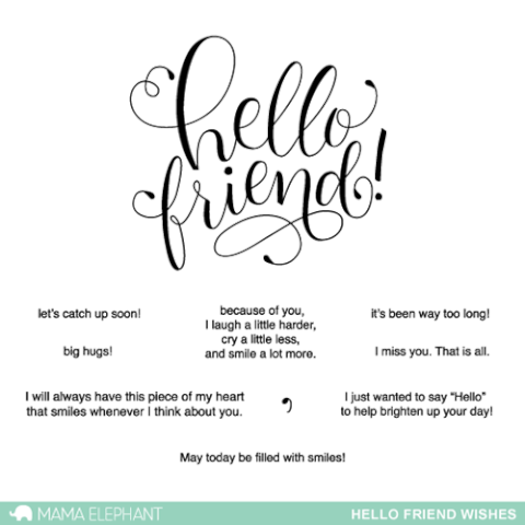 Sellos Mama Elephant - Hello Friend Wishes