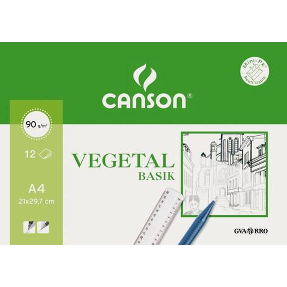 Pack Vegetal 21X29,7cm. A4 (12HJ.) 90GR. Canson