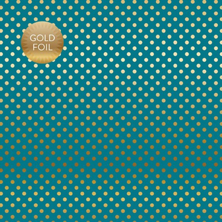 Papel de 30 x 30. Gold Foil Dots Blue