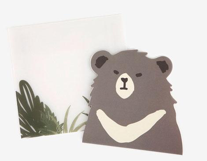 Tarjeta forma animal asiatic black bear