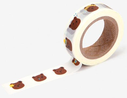 Cinta adhesiva masking tape washi bear face 15mm.x10m.