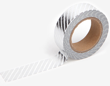 Cinta adhesiva masking tape washi pencil oblique silver