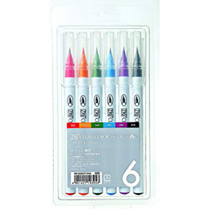Set 6 rotuladores Zig Clean Color Real Brush