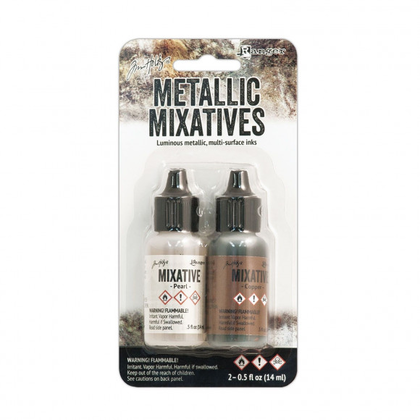 Set tintas  alcohol ink metallic pearl & copper