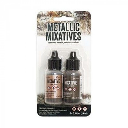 Set tintas  alcohol ink metallic rosegold & gunmetal