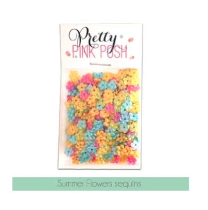 Pretty Pink Posh - Summer Flowers Sequins Mix