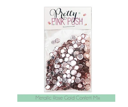 Pretty Pink Posh - Metallic Rose Gold Confetti Mix
