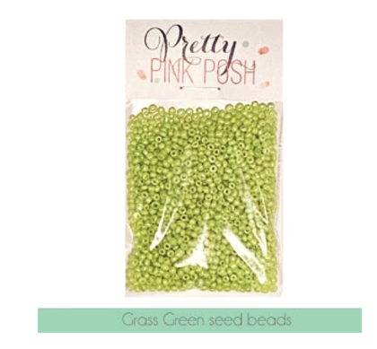 Pretty Pink Posh - Grass Green Seed Beads